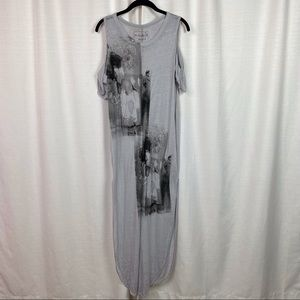 Free People Gray Floral Screen Printed Maxi Dress
